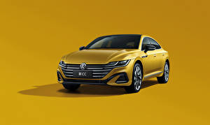 Фотография Volkswagen Металлик Цветной фон Желтых CC 380 TSI R-Line, China, 2020 машины