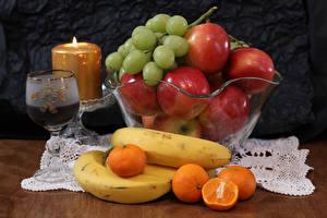 Картинки Вино Свечи Яблоки Виноград Бананы Мандарины Бокал Пища