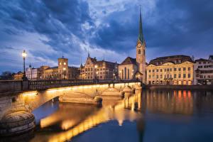 Картинка Цюрих Швейцария Вечер Озеро Дома Мост Уличные фонари Города