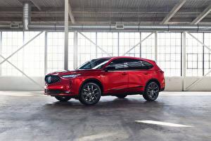 Фотографии Acura Красные Металлик Кроссовер MDX A-Spec, North America, 2021 машины