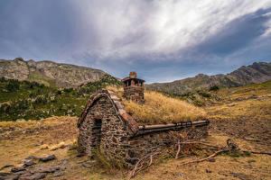 Фотография Андорра Горы Здания Парк Из камня Ветки Coma Pedrosa National Park