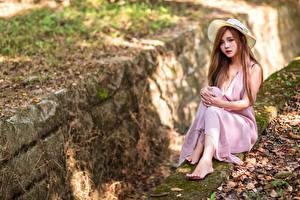 Фотография Азиатки Размытый фон Сидящие Платье Шляпе Смотрят Девушки