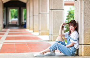 Обои для рабочего стола Азиатки Шатенки Сидящие Боке Смотрят девушка