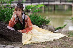 Картинки Азиаты Позирует Платья Смотрит девушка