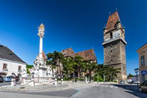 Фотография Австрия Часы Скульптуры Здания Башня Улица Perchtoldsdorf Города