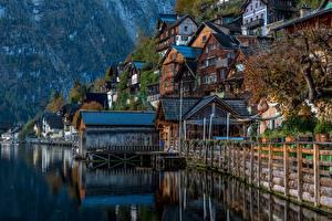 Фотография Австрия Халльштатт Озеро Горы Дома Альпы Природа