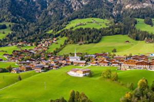 Фотографии Австрия Здания Сверху Alpbach Города