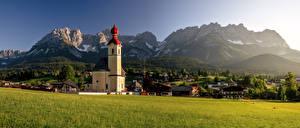 Картинки Австрия Гора Церковь Дома Пейзаж Альп Альпы Wilder Kaiser Природа