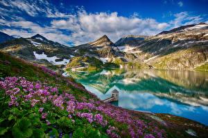 Фотография Австрия Горы Озеро Альп Облачно Отражении Weißsee Природа