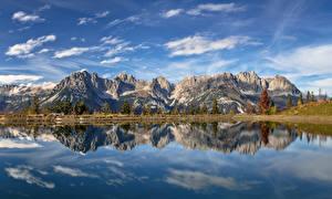 Фото Австрия Гора Озеро Альп Облако Отражении Отражение Tyrol Природа