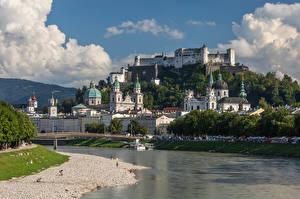 Фотографии Австрия Зальцбург Реки Мост Горы Замки Собор Альпы Города