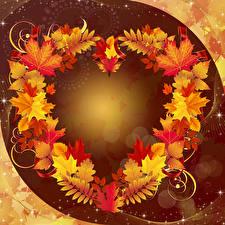 Фотография Осенние Лист Шаблон поздравительной открытки