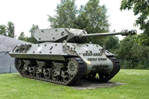 Фотографии Бельгия Танки Памятники Траве Bastogne, M10 Wolverine