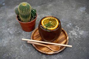 Фотография Кактусы Чай Лимоны Цветочный горшок Чашке Ложки Еда Цветы