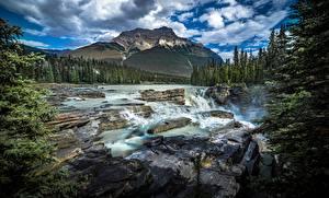 Картинки Канада Парк Гора Реки Камни Пейзаж Облака Джаспер парк Alberta Природа