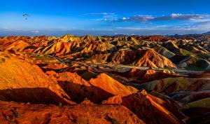 Обои Китай Горы Парки Утес Danxia Landform Geopark Природа