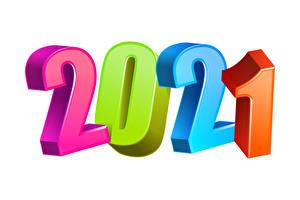 Картинка Новый год 2021 Разноцветные Белым фоном