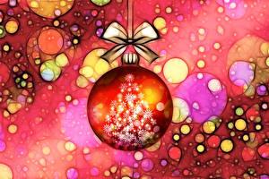 Фотографии Новый год Шар Бант Елка Снежинки