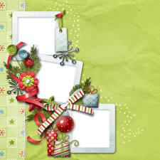 Фотографии Новый год Шар Бантик Лента На ветке Шаблон поздравительной открытки
