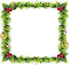 Фотография Новый год Ягоды Ветвь Лист Колокольчик Шаблон поздравительной открытки
