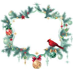 Обои Новый год Птицы Ветки Шарики Звездочки Шаблон поздравительной открытки