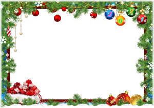 Обои Рождество На ветке Шар 2021 Снежинки Коробка Подарки Шаблон поздравительной открытки