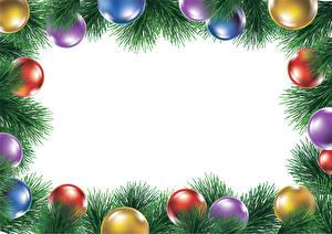 Картинка Рождество Ветвь Шарики Разноцветные Шаблон поздравительной открытки