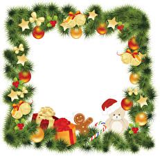 Фотографии Рождество Ветки Шар Звездочки Подарков Коробке