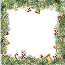 Обои Рождество Ветвь Колокольчики Звездочки Шаблон поздравительной открытки