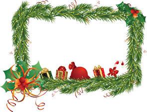 Фото Новый год На ветке Ленточка Подарки Бантики Шаблон поздравительной открытки