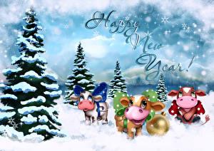 Фотография Новый год Бык Коровы Ели Снегу Шар Слова Инглийские