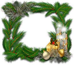 Обои Рождество Свечи На ветке Шар Коробке Подарков Шаблон поздравительной открытки