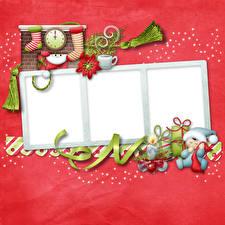 Фотография Рождество Свечи Часы Лента Носках Подарков Шаблон поздравительной открытки