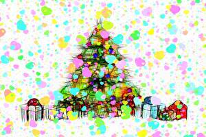 Фото Новый год Новогодняя ёлка Подарков Коробки