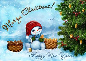 Фотография Новый год Елка Снеговик Корзинка Слово - Надпись Английский Снегу