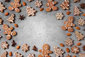 Картинка Рождество Печенье Миндаль Шаблон поздравительной открытки Пища