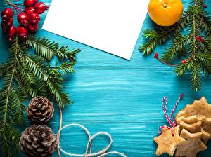 Обои Новый год Печенье Ягоды Ветки Шишки Лист бумаги Шаблон поздравительной открытки