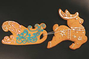 Обои Рождество Печенье Олени Дизайн Санях Еда