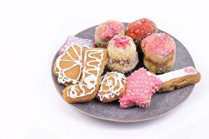 Картинки Новый год Печенье Белый фон Дизайна Пища