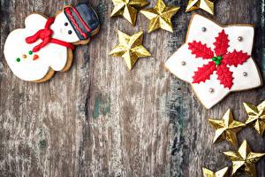 Фотографии Рождество Печенье Доски Дизайн Снеговик Звездочки Шаблон поздравительной открытки Пища