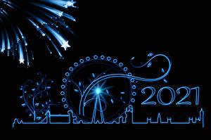 Фотографии Рождество Фейерверк Лондоне 2021 Силуэты Звездочки Черный фон Колесо обозрения