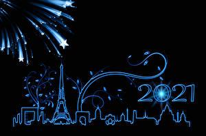 Обои Новый год Фейерверк Париже Эйфелева башня Силуэты Звездочки Черный фон 2021