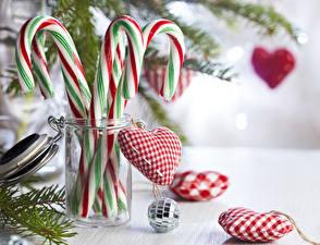 Фотографии Рождество Леденцы Банки Шарики Сердца Пища