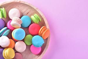 Фотографии Печенье Макарон Разноцветные Пища