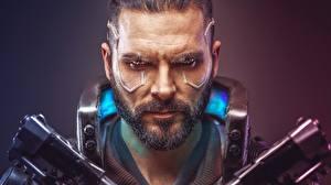 Фото Cyberpunk 2077 Мужчины Лицо Бородой Игры