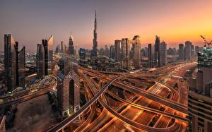 Фото ОАЭ Дубай Дома Дороги Небоскребы skyline Города