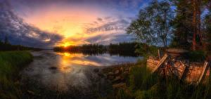 Фотография Финляндия Речка Рассвет и закат Небо Облака Kuusamo Природа