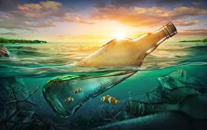 Фотография Рыбы Воде Бутылки Мусор Природа