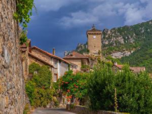 Обои Франция Здания Часы Peyreleau Aveyron город