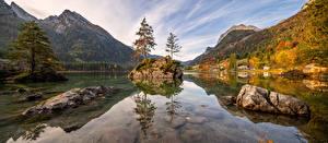 Обои Германия Осень Гора Камень Озеро Панорама Альп Альпы Природа